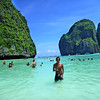 Ko Phi Phi's most famous beach surrounded by limestone cliffs