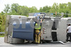 5.15.14-COLUMBIA, MD- Emergency crews responded to the scene tractor trailer loaded with mulch overturned while making the turn off of route 175 onto Route 108 in Columbia. (The Daily Record/Maximilian Franz)