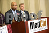 5.28.14- BALTIMORE, MD- From Left,  Maryland State Delegate Shawn Tarrant and Vincent DeMarco, President of the Maryland Citizens Health Initiative, seen talking at the press conference at MedChi where health care advocates announced majority support in the Maryland General Assembly for life saving tobacco tax for hearth care proposal.  (The Daily Record/Maximilian Franz)