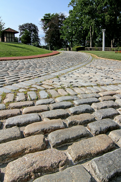 Cobblestone driveway at the Vanderbilt Estate in Centerport,NY.