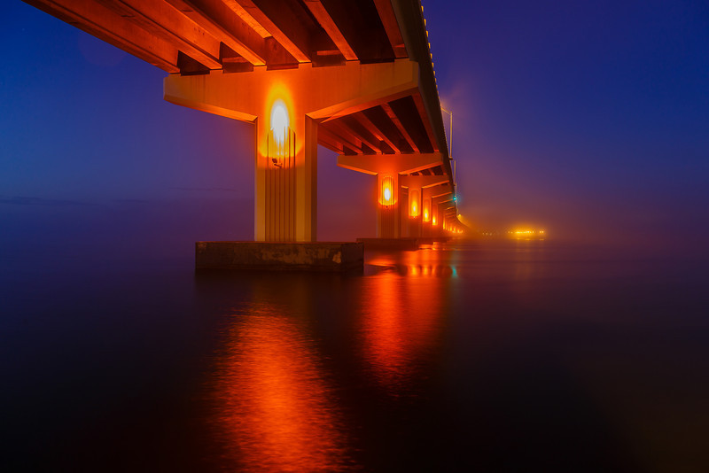 A troll's view of sunrise under the Max Brewer Causeway in Titusville.