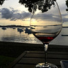 Wine glass with the bay in the background, The Gables, Christmas Eve 2013, Russell, Bay of Islands
