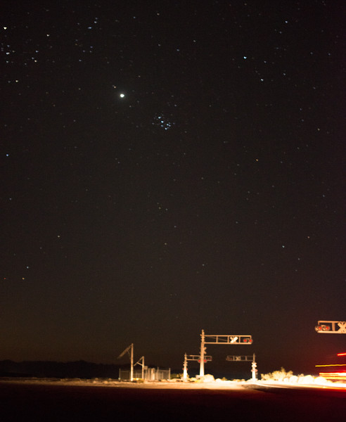 The face of Taurus, Venus, and the Pleiades at the Rice Road Railroad Crossing - Hwy 62