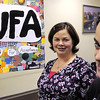 Danvers:<br /> Heather Carnevale, is the class advisor, left, and Derek Bean, freshman, is a member of Students United for Acceptance, SUFA, at Danvers High School. SUFA, will be a honored Monday during the Danvers Diversity Committee's annual dinner.<br /> Photo by Ken Yuszkus/Salem News, Wednesday, January 11, 2012.