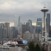 Downtown Seattle skyline on over cast day.