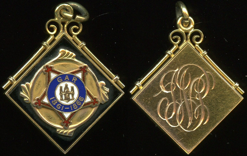 MASONIC & FRATERNAL<br /> <br /> Lot XXX  (charm)  (extended loop and ring) / GAR / (figures) / 1861 – 1866 // (engraved initials), black/red/blue specific gravity 10 kt gold sq 20mm.  An exceptional item for the Grand Army of the Republic!    G5-($125-$250)