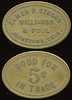 COLORADO<br /> Lot 381:  ELMER P. STRONG / BILLIARDS / & POOL / JOHNSTOWN, COLO. // Good For / 5¢ / In Trade, br ov 26x18mm.  Listed JO130 1 known, Gross-1 $100-$150.     G3-($150-$300)
