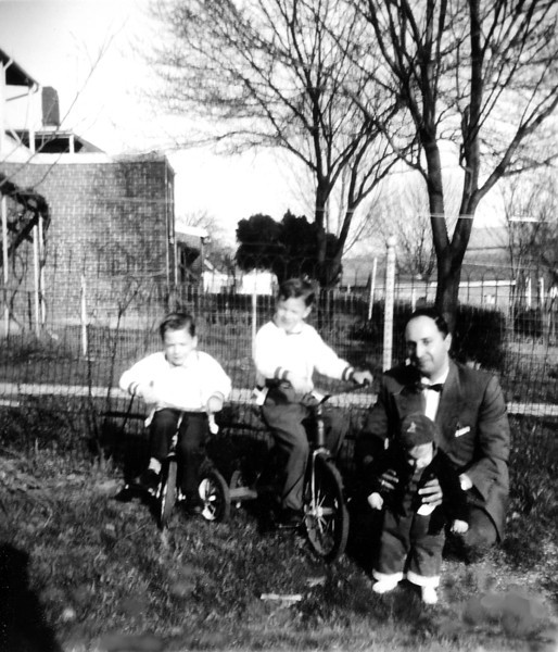 Spring 1961 in the backyard with dad.