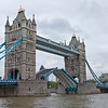 Tower Bridge being raised for a boat on London's River Thames
