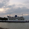 A Wight Link car ferry arrives into Fishbourne.