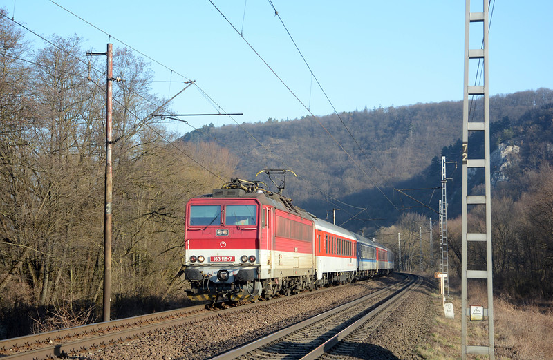 The first of the overnight trains from Prague, EN445  the Slovakia which was heading for an on-time arrival in Košice (arr 07:41). It consisted of three sleepers from Prague, one from Cheb, two chair cars and a couchette car from Prague.