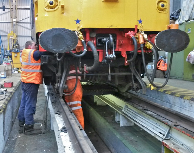 The diesel group fit the new 'T' piece vacuum pipe under the nose of No 2 end.<br /> Testing of the full vacuum system is next.<br /> 2nd May 2015.