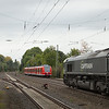 Captrain 6601 on the coke empties 47502 (Bottrop-Sued - Seraing/B) passes a turning 425 on an RB33 service in Kohlscheid.