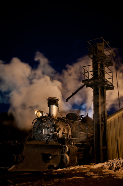 Night at the Durango & Silverton Railroad yard. Feb. 16, 2013