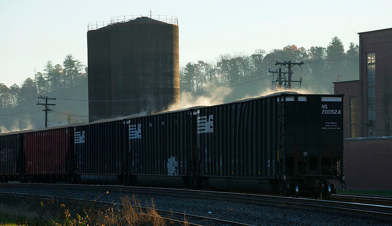 Woodchip hoppers left in the siding at Old Fort,NC by NS train 165.