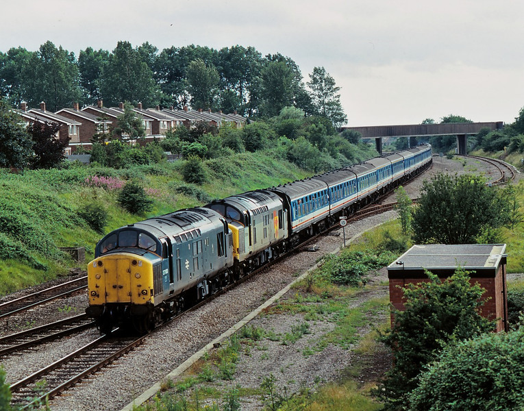 Class 37 No.37074 and 37100 at Barnwood on the outskirts of Gloucester with a Pathfinder Tours special  run in connection with the Gloucester Rail Open Day in 1990