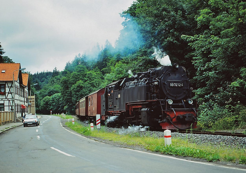 HSB(DR)  2-10-2T  No. 99.7232-4  parallels the road as it approaches Alexisbad with a return working from Gernrode
