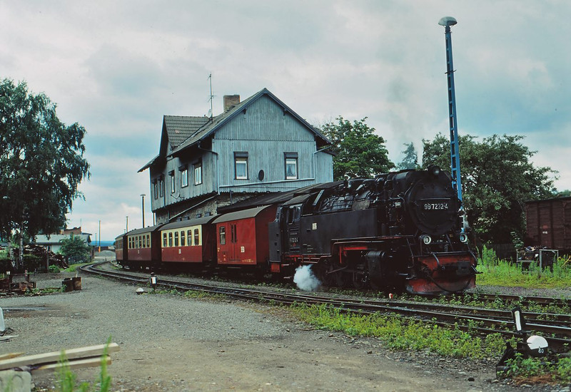 HSB(DR) 2-10-2T No. 99.7232  was built in 1954 at  LKM Babelsberg Seen here at Stiege after turning on the balloon loop for a right way trip back to Eisfelder