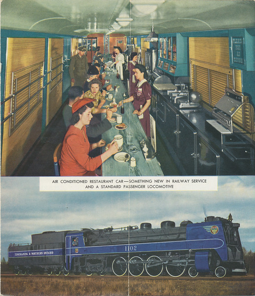 Temiskaming and Northern Ontario Railway timetable. 1945 June 26th. Railway later became the Ontario Northland Railway. Back cover: picture of Air Conditioned Restaurant Car and picture of 4-8-4 1102, a 1937 product of the Canadian Locomotive Company in Kingston producing 54,500 lbs tractive effort.