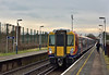 Yet another rebuilt Desiro working.458536 and classmate 458532 halt at Addlestone with 2S30  the 11.03 from Weybridge to London Waterloo<br /> <br /> 16 February 2015