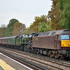 47237 + 34046 Braunton passing West Byfleet with 5Z40 ECS move from Kingsland Rd - Southall WCR,<br /> <br /> 30 September 2013