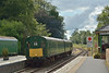 """Much to my surprise Ex - BR Southern Region """"Berkshire"""" 3H DEMU 1132 appeared from Meldon and stabled in the platform.<br /> <br /> 15 August 2014"""