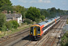 159015 accelerates away from Basingstoke with 1L31 the 11.50 from Waterloo to Salisbury<br /> <br /> 2 September 2014