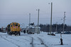 Moosonee station after departure of Polar Bear Express. GP38-2 1809 and GP40-2 2200 with freight.