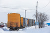 Boxcars on siding along Revillon Road in Moosonee.