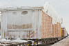Prefab building units arrive in Moosonee on board Ontario Northland Railway freight 419.