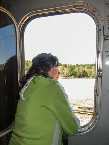Looking out window at Otter Rapids.