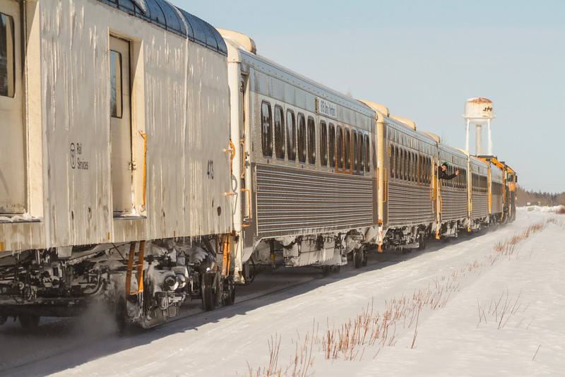 Special Saturday edition of the Polar Bear Express heads into Moosonee behind GP38-2s 1801 and 1802.