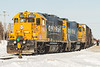 Special Saturday edition of the Polar Bear Express in  Moosonee behind GP38-2s 1801 and 1802.
