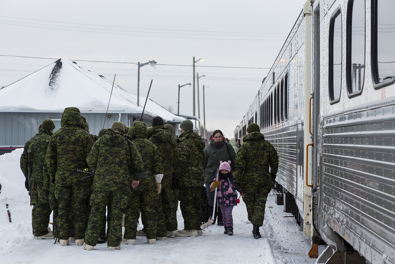 Soldiers on Moosonee station platform. Part of Exercise Trillium Response.