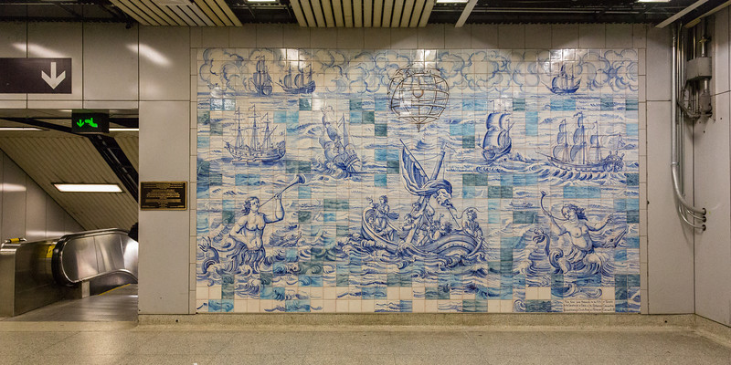 Mural honouring Portugese Immigration at Queen's Park Subway Station. TTC