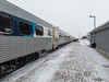 Polar Bear Express mixed train along station platform in Moosonee.