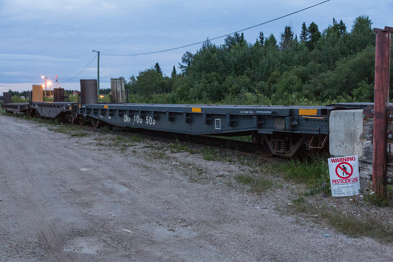 Flatcars 100503, 100500 and 100501 at Moosonee ready to carry vehicles on tomorrow's Polar Bear Express.