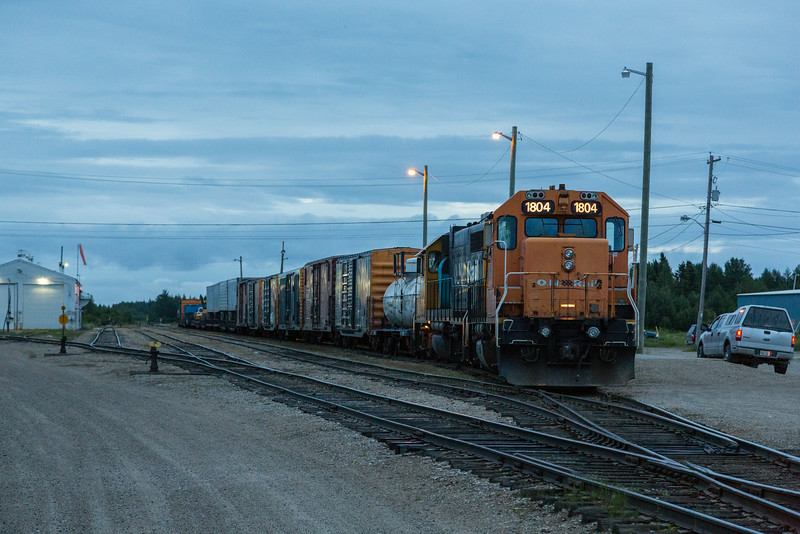 Freight ready to head south from Moosonee. GP38-2 1804 and 1802.