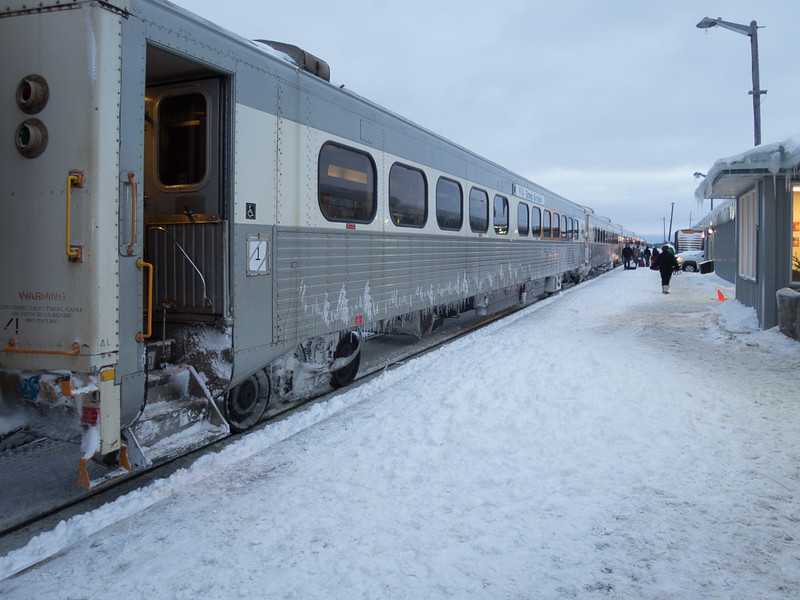 Passenger coaches on the Boxing Day 2014 Polar Bear Express in Moosonee.