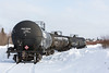 Tankcars on siding near Bay Road in Moosonee. PROX 50208 placarded 1863 for Jet A.