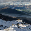 Panorama from Bold Peak: Mount Alfred separates the Rees from the Dart River; the Richardson Mountains in the back