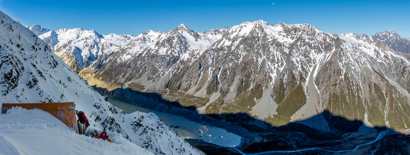 At Sefton Bivvy. The Mount Cook Range behind, from Turner Peak and Ball Pass (far left) to Mount Wakefield (just left of the moon). Mount Blackburn is on the far right