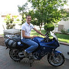 On my BMW F800ST in the courtyard of my house.