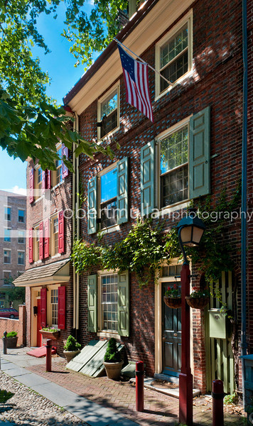 Elfreth's Alley in Philadelphia, USA often referred to as the oldest continuously inhabited street in America.