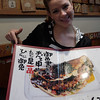 Kristy shows off the only choice on the menu, okonomiyaki // Gion district, Kyoto