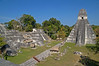 Central Acropolis and Great Jaguar Temple as seen from Temple II Pre-Columbian Maya Site at Tikal National Park, Guatemala, a UNESCO World Heritage Site