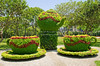 Flower arrangement forming a tea pot and two cups, Parque de la Reserva, Lima, Peru