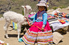 Peruvian Girl with White Baby Alpaca