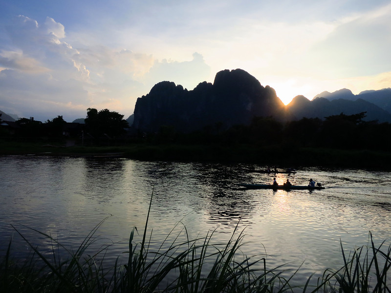 Beautiful riverside sunset in Vang Vieng.