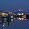 Full moonrise over Aurora Harbor, Juneau, AK